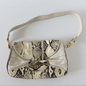 Just Cavalii Snakeskin and Glitter Canvas Bag